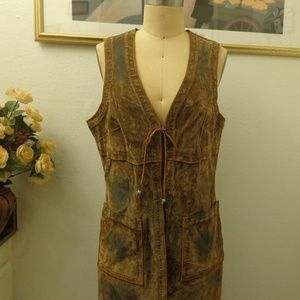Allen B. Distressed Long Vest with Pockets